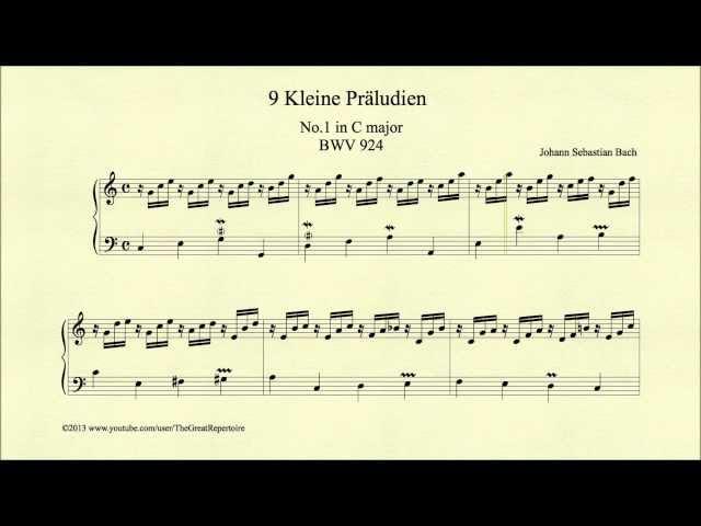 Bach, Prelude in C major, BWV 924, Piano