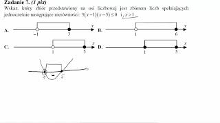 Matura maj 2011 zadanie 7 Wskaż, który zbiór przedstawiony na osi liczbowej jest zbiorem liczb spełn