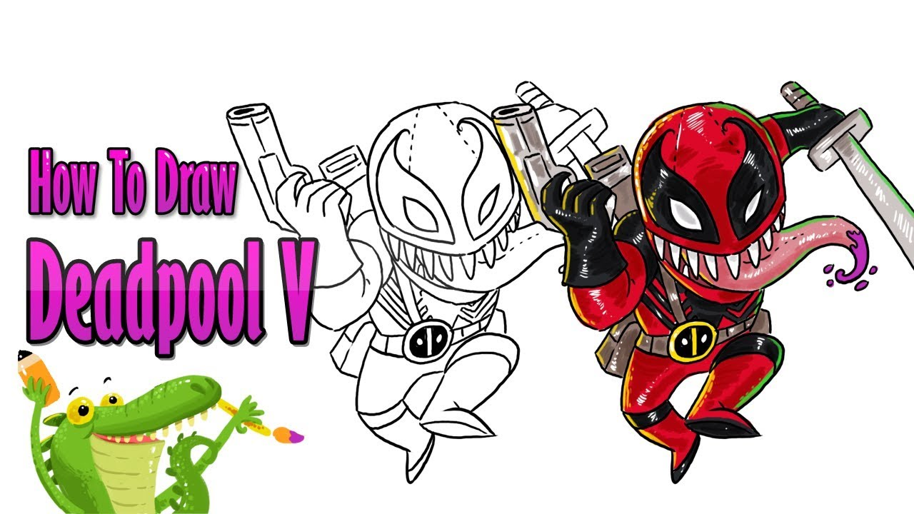 How To Draw And Coloring Venom Deadpool Step By Step For Kids