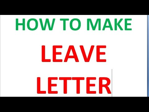 HOW TO MAKE LEAVE LETTER to PRINCIPAL - YouTube