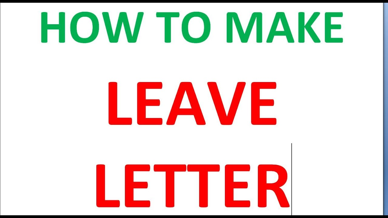 HOW TO MAKE LEAVE LETTER To PRINCIPAL
