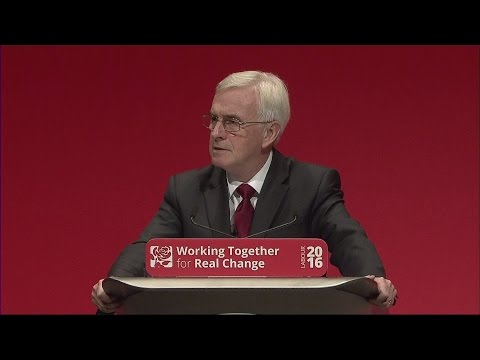 FULL SPEECH: Shadow chancellor John McDonnell at Labour Conference 2016