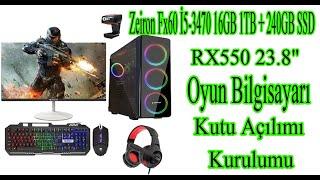 Zeiron Fx60 İ5-3470 16GB 1TB + 240GB SSD RX550 23.8