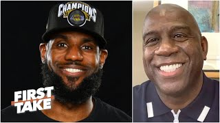 Magic Johnson reacts to the Lakers' win, talks recruiting LeBron to the Lakers | First Take