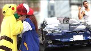 GOLD DIGGER MAKE OUT PRANK (Pokemon Edition) w/Auto Driving TESLA