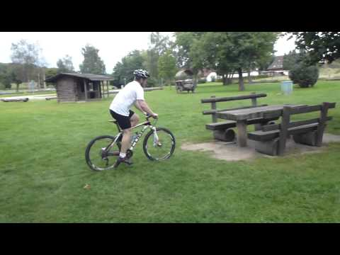 Light trials riding on carbon hardtail