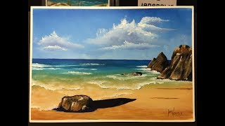#149. How to paint a rocky beach in acrlic