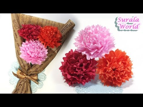 How To Make Paper Carnations (flower) (with  thin paper, tissue paper)