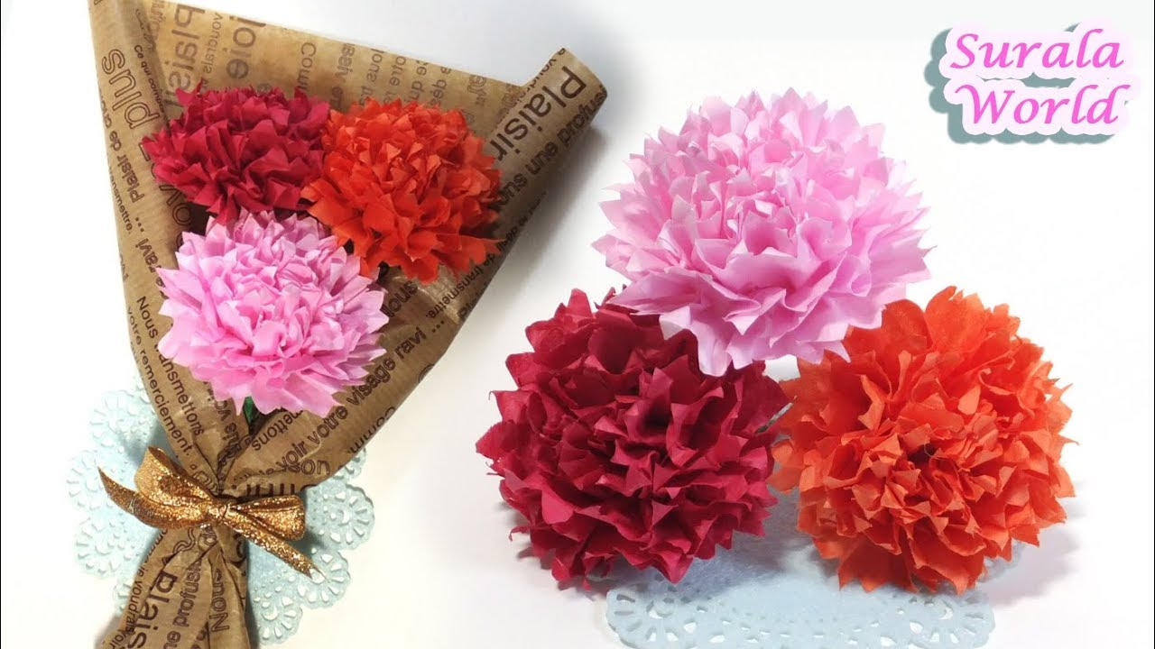 how to make paper carnations  flower   with thin paper