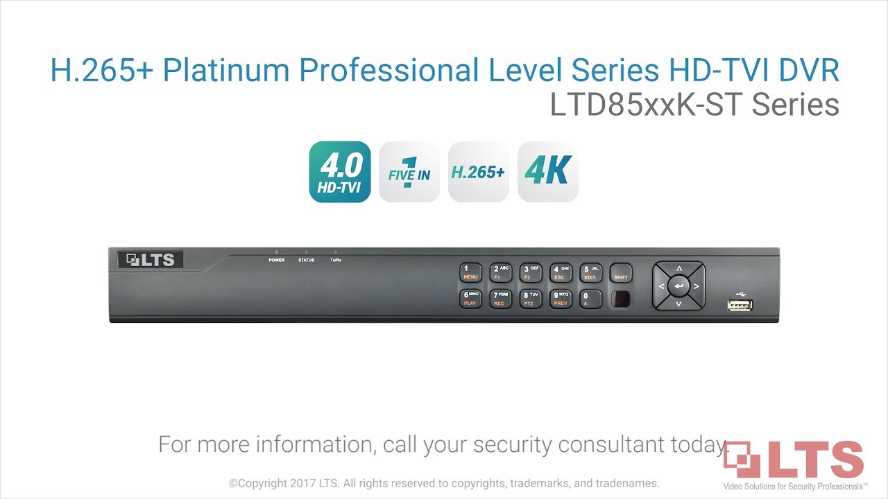 LTD8504K-ST 4CH 5MP H.265 LTS Platinum Pro HD-TVI AHD//ANALOG CVI 2CH IP 6MP