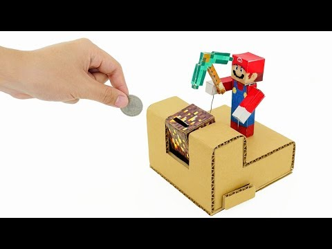 How to Make Minecraft Super Mario Coin Bank Box from Cardboa
