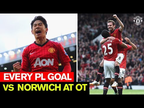 Every PL goal v Norwich City at Old Trafford | Manchester United | Cantona, Rooney, Kagawa & more
