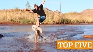 TOP FIVE: Extreme Rope Swing, Skimboarding & Flyboard | PEOPLE ARE AWESOME 2016