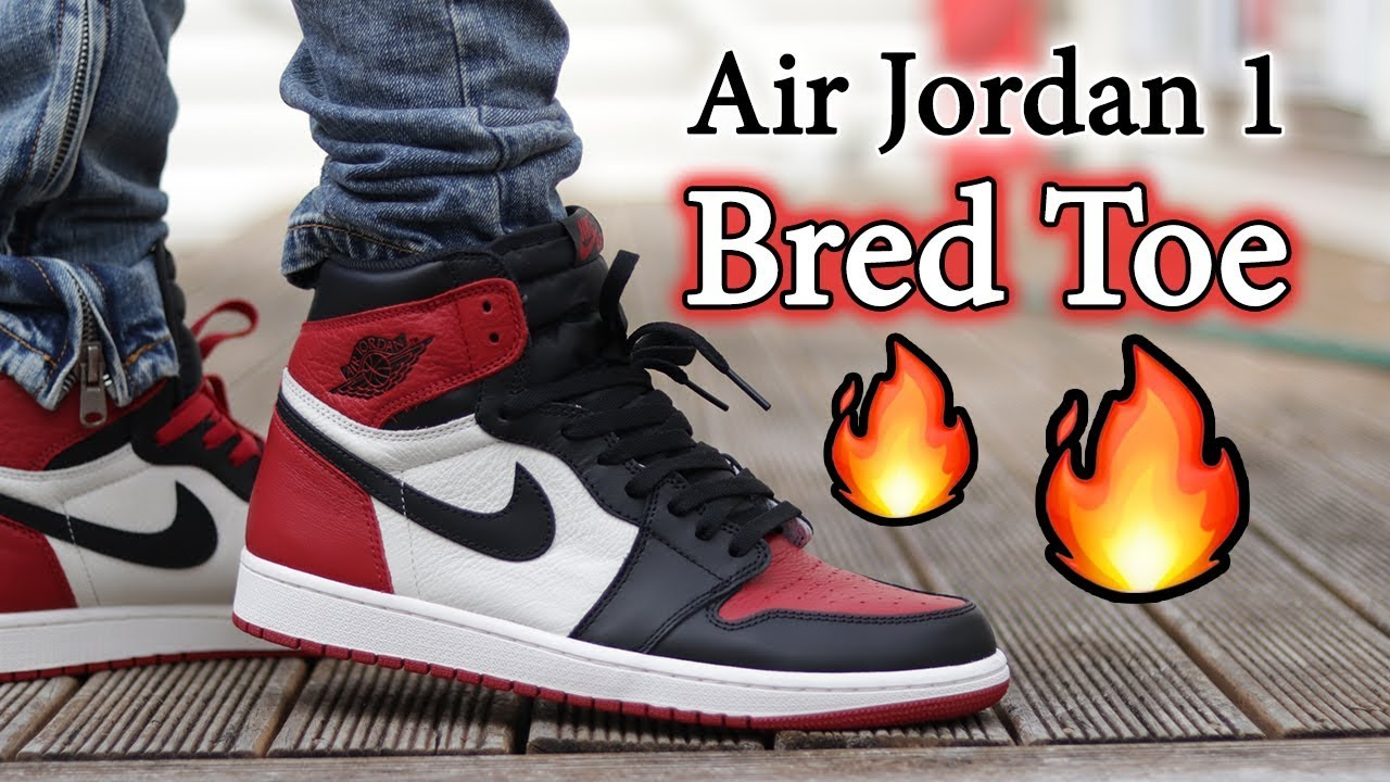 Air Jordan 1 'Bred Toe' Detailed Close Ups and On Feet w/ Different Pants