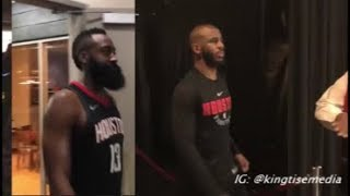 Chris Paul Leaves Rockets Arena After Hamstring Injury & Rockets Celebrate Game 5 Win