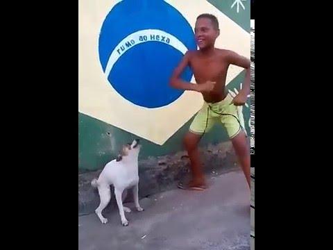 Perro bailando samba con niño brasileño