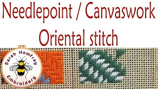 Oriental stitch in needlepoint / canvaswork embroidery