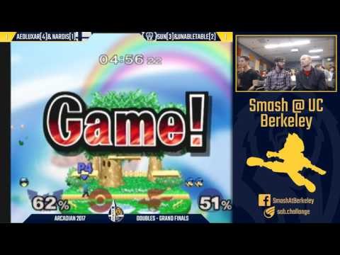 Berkeley Arcadian 2017 - Melee Doubles Grand Finals: Aeoluxar & Nardis vs Sun & Unabletable