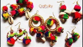 5 DIY Pom Pom Earrings | Making Pom Pom Dangle Earrings | Navratri special earrings