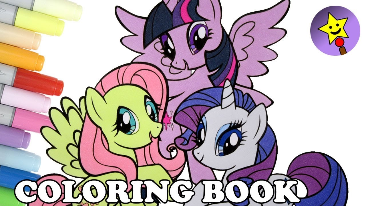 twilight sparkle fluttershy rarity coloring book mlp my little