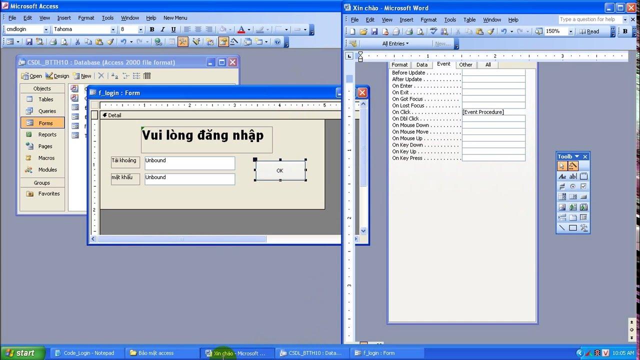 Hướng dẫn tạo form bảo mật file access (microsoft office 2003)