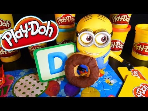 Play Doh Letter Lunch Molds ABC Play-Doh Puzzle Toys Despicable Me Minion Dave Disney Cars Mcqueen