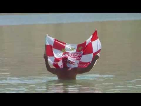 Floating in the Dead Sea, Israel with FC Bayern Munich flag