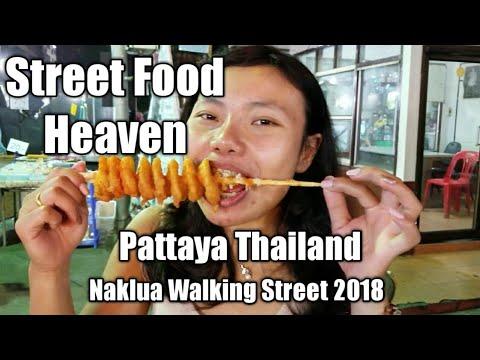 Thai Street Food Heaven! Naklua Walking Street 2018 - Walk & Eat Vintage Market in Pattaya Thailand