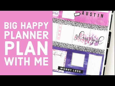 Plan With Me Using Dylusions Shimmer Spray // Big Happy Planner // February 17-23, 2020