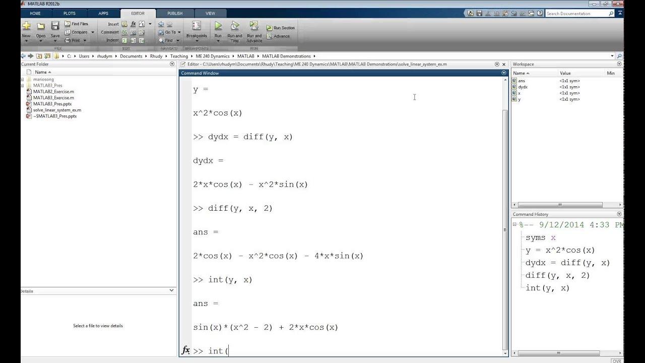 Matlab Tutorial Lesson 03c Basics Of Using The Symbolic Toolbox