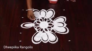 simple and easy lotus rangoli design with 5x5 dots ll daily kolam design ll small muggulu designs