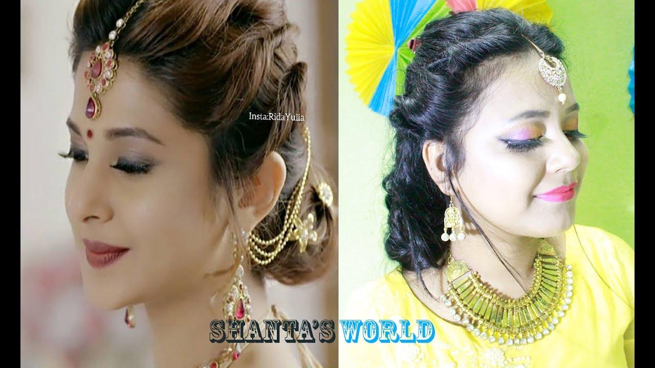 beyhadh- jennifer winget's easy bun hairstyle for indian/bangladeshi wedding & party for medium hair