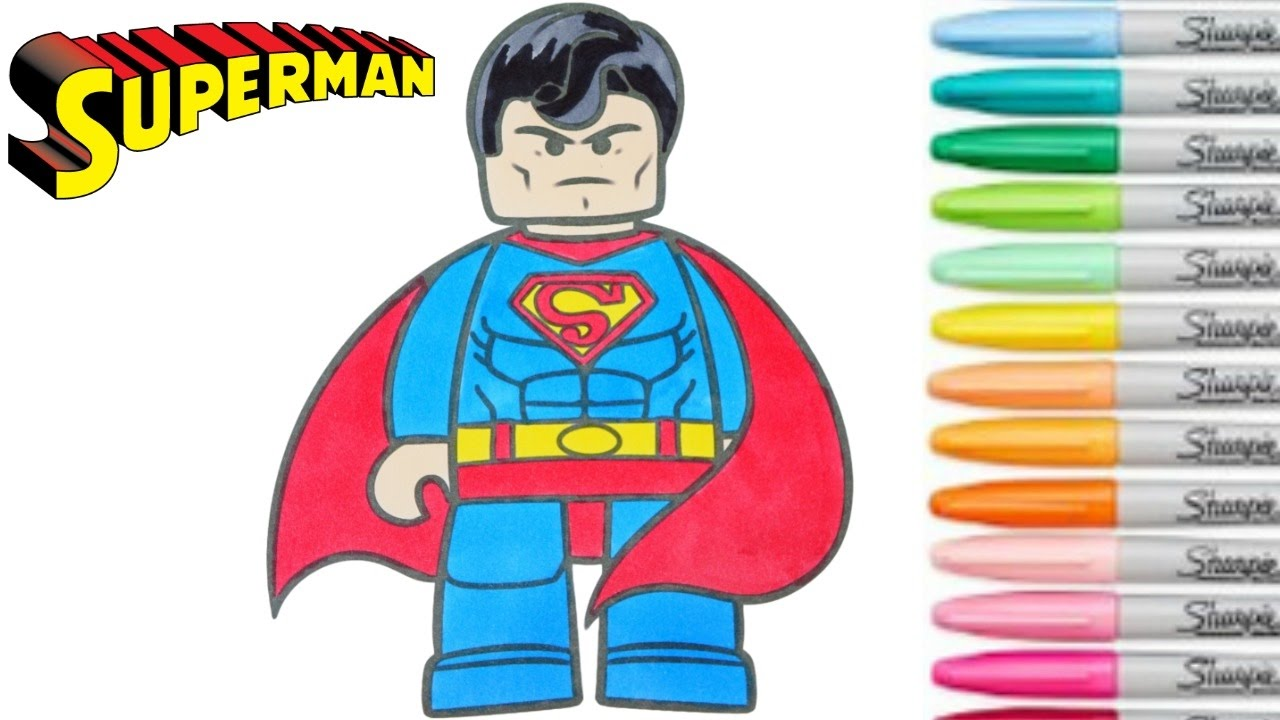 Lego Superman Coloring Book Superhero Colouring Pages For Kids Rainbow Splash Dc Comics Youtube