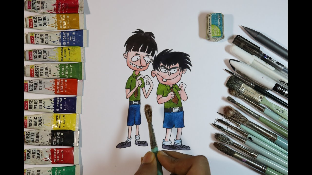 How to draw budhdev aur badrinath