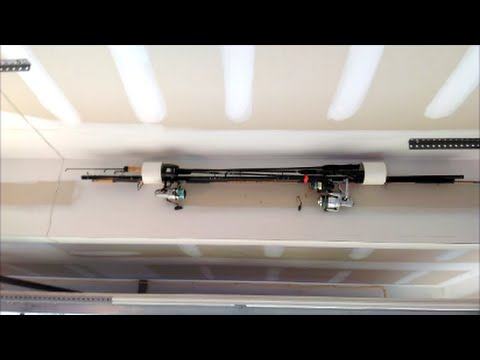 Cheap & Easy Fishing Pole Rack Holder PVC Pipe For Ceiling Or Wall.