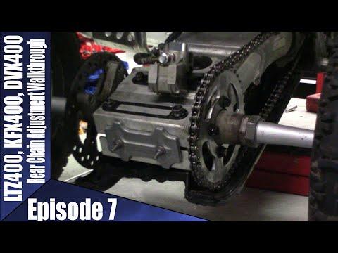 LTZ400, KFX400, DVX400 Chain Adjustment Episode 7