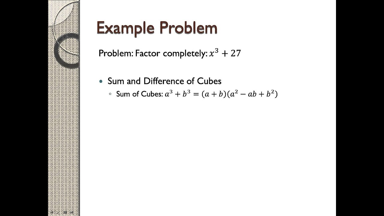 How To Factor X^3+27