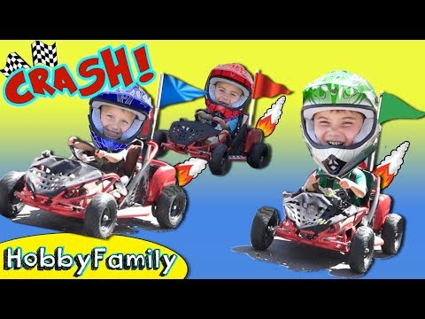 Real GO-KART RACE! Who Wins the Race? Super Fun Fast Track HobbyFamilyTV