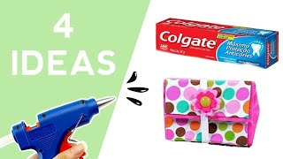 Best Out Of Waste Colgate Box - 4 Crafts Ideas | Reuse Toothpaste Box Craft Project