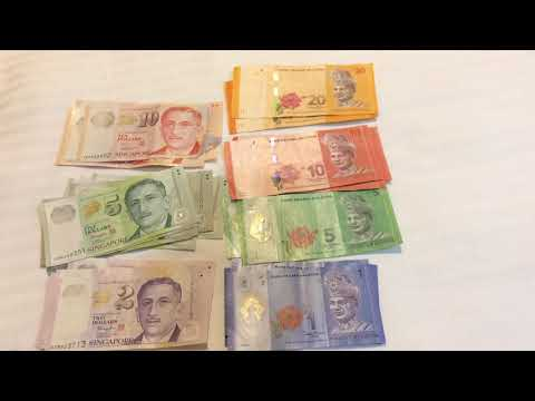 Money Display Notes Singapore Dollar and Malaysia Ringgit