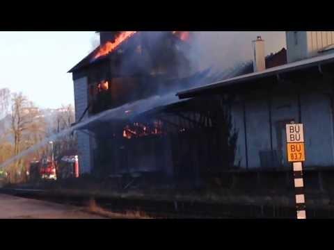 Großbrand Neuenstein 09.03.2014 Lagerhaus brennt und stürzt ein