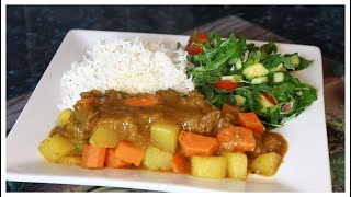 SUNDAY DINNER Garlic Curry Beef & Salad Recipe Very Easy and Simple Step-by-Step Recipe !!