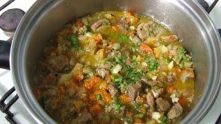 Телятина тушенная с овощами  Простое блюдо- телятина тушенная с овощами