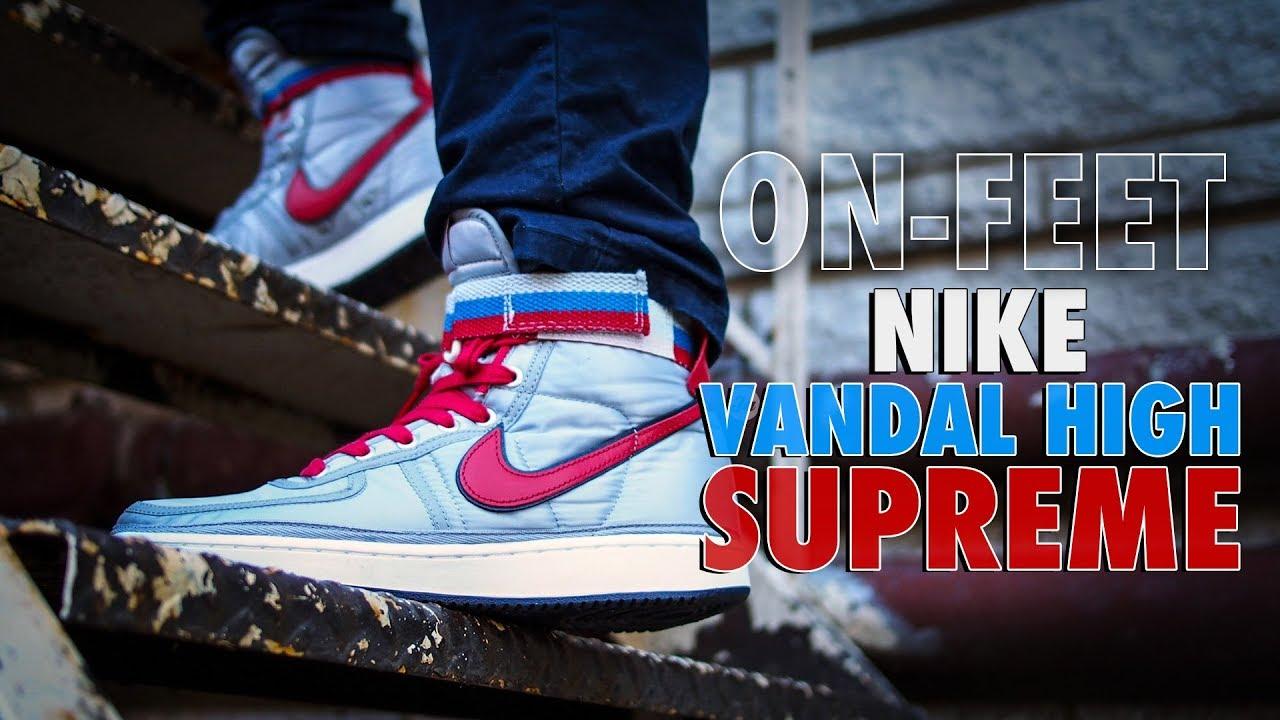 newest 35005 251b0 On-feet Nike Vandal High Supreme OG in Metallic Silver  Red (2017)