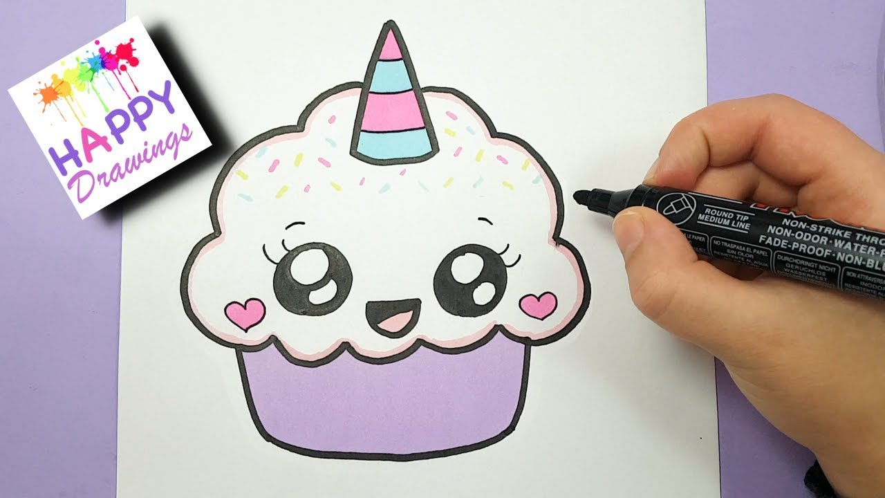 How To Draw A Cute Cupcake Unicorn Super Easy And Kawaii Youtube