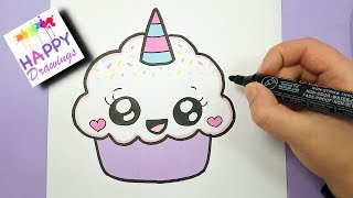 HAPPY DRAWINGS : HOW TO DRAW A CUTE CUPCAKE UNICORN In this video, ...
