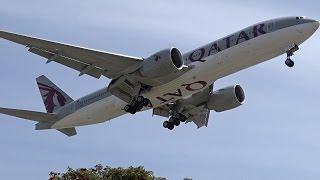 qatar airways boeing 777 200lr a7 bbe landing at los angeles lax klax