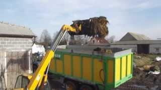 wywóz obornika 2014 [HD]  joskin drakkar, new holland t6080, jcb 526s