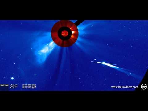 AIA 304, LASCO C2/C3 (2013-11-27 13:25:55 - 2013-11-28 12:35:07 UTC)