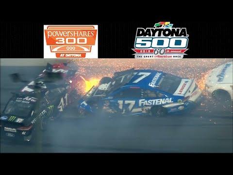 All Crashes For The QQQ Powershares 300 - Daytona 500 - Daytona - 2/17 - 2/18/2018